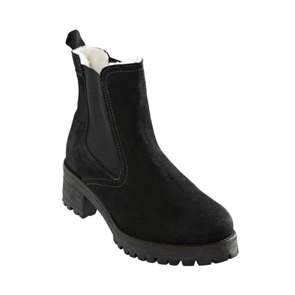 'Lotta' Outdoor Ladies Boots in Black. Wool lined with a Suede outer. By Shepherd of Sweden