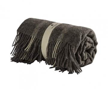 'Lucy' - Wool Blanket / Plaid, with Tassels, in colour: Granite. By Shepherd of Sweden