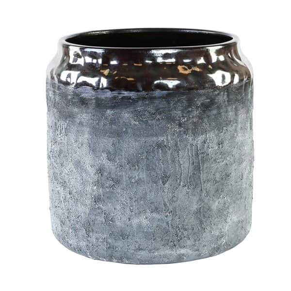 'Luna' Ceramic Pot in White / Grey, with a beautiful Deep Red glazed rim. By PTMD Collection®