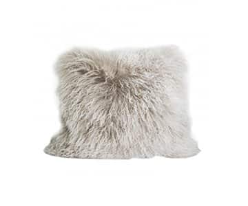 Luxurious 100% Tibetan Lamb Fur Cushion in Light Grey. By On Interior of Sweden