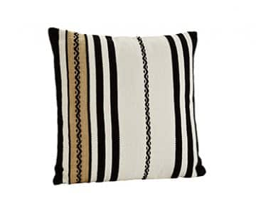 Luxurious 'Chenille' Cushion in Off White/Black/Sand, with Duck down filling. By Madam Stoltz of Denmark