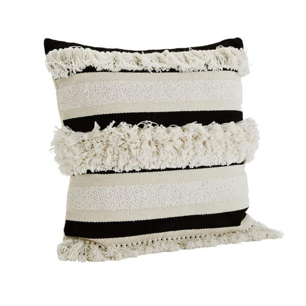 Luxurious 'Chenille' Cushion in Off White/Black, with Duck down filling. By Madam Stoltz of Denmark