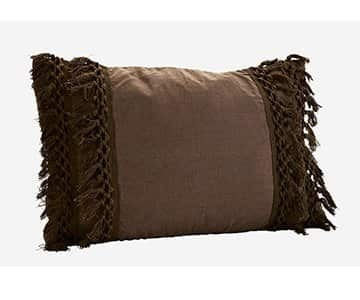 Luxurious Pure Cotton Cushion in Charcoal, with Duck down filling. By Madam Stoltz of Denmark
