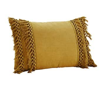 Luxurious Pure Cotton Cushion in Mustard, with Duck down filling. By Madam Stoltz of Denmark
