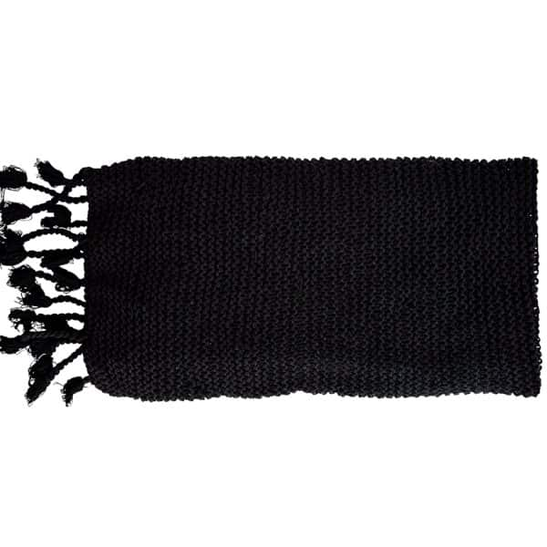 Luxurious Pure Cotton knitted Throw in Black. By Madam Stoltz of Denmark