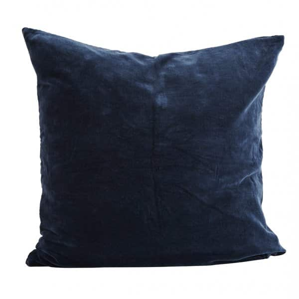 Luxurious Velvet Cushion in Blue, with Duck down filling. By Madam Stoltz of Denmark