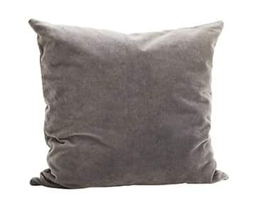 Luxurious Velvet Cushion in Dark Grey, with Duck down filling. By Madam Stoltz of Denmark