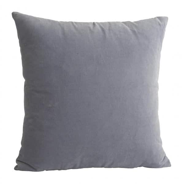 Luxurious Velvet Cushion in Grey, with Duck down filling. By Madam Stoltz of Denmark