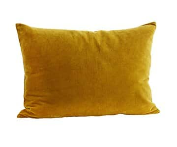 Luxurious Velvet Cushion in Mustard, with Duck down filling. By Madam Stoltz of Denmark