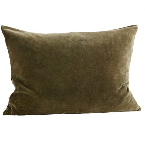 Luxurious Velvet Cushion, in Olive Green, comes with a Duck down filling. By Madam Stoltz of Denmark.