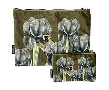 Makeup Bag & Pouch in Velvet (set of 2), with Cotton lining and zipper, by Vanilla Fly of Denmark