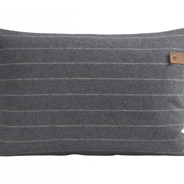 'Marina' - Wool Cushion in Granite (colour) with stripes. By Shepherd of Sweden
