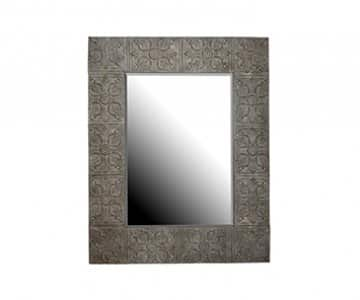 'Marseille' Mirror finished in antiqued Silver (colour), metal framed. By London Ornaments.