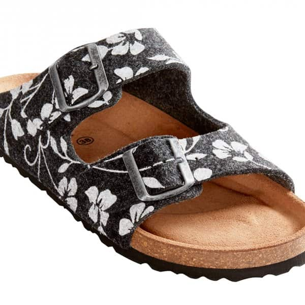 'Mathilda' Classic Sandals in Black with a Flower pattern. By Shepherd of Sweden