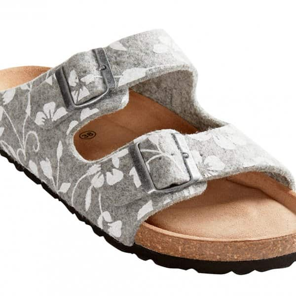 'Mathilda' Classic Sandals in Grey with a Flower pattern. By Shepherd of Sweden