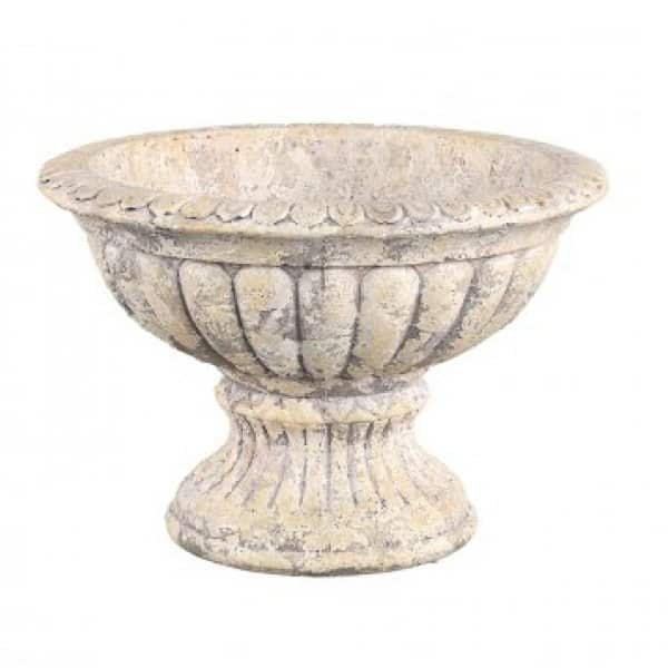 'Meline' Ornamental standing Bowl, made from Cement, in rustic Cream. By PTMD Collection®