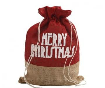 'Merry Christmas' drawsting bag made from Jute. By PTMD Collection®
