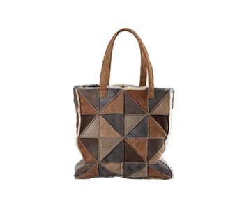 'Milano' Patchwork 'Shopper' Sheepskin Bag, with double handles, in various colours. By Shepherd of Sweden