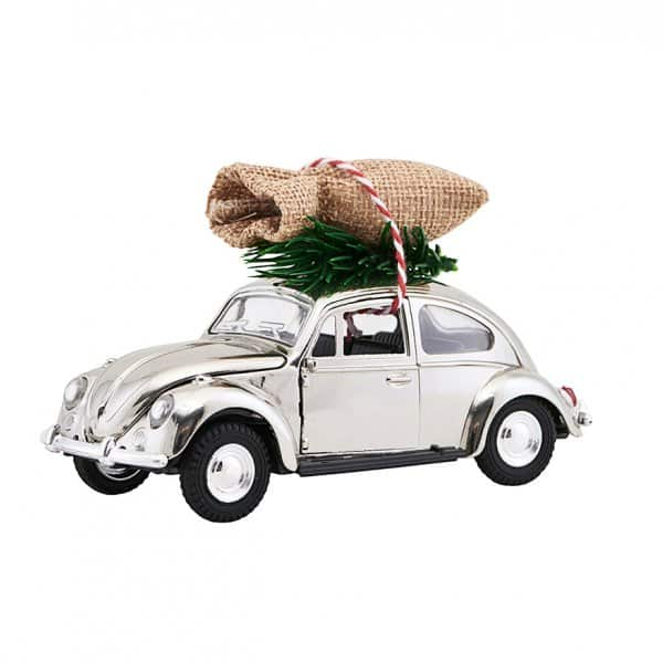 'MINI' Christmas Car, in the original VW Beetle shape, presented in Chrome. By House Doctor