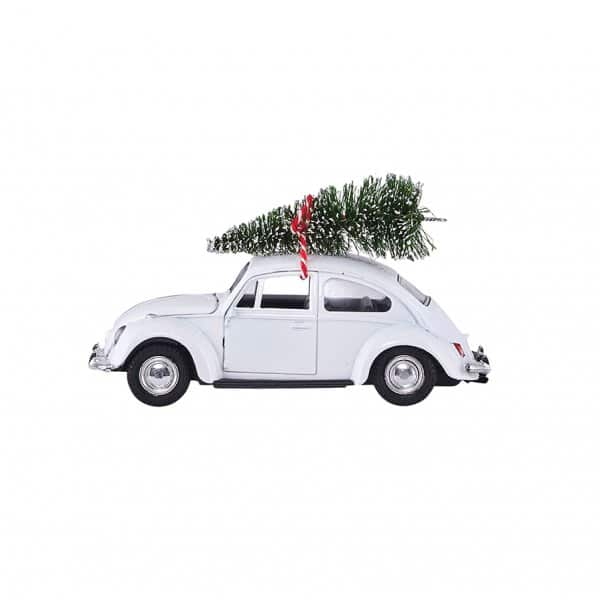 'MINI' Christmas Car, in the original VW Beetle shape, presented in White. By House Doctor