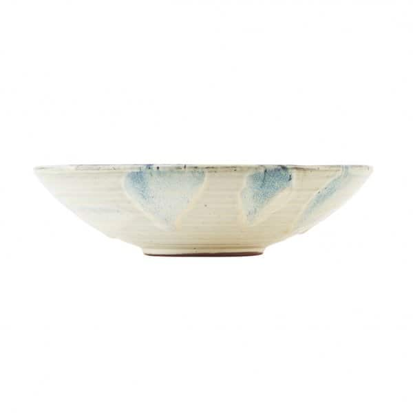 'Mio' Serving Bowl, made from hand-glazed Terracotta, presented in Off-White/Blue. By House Doctor