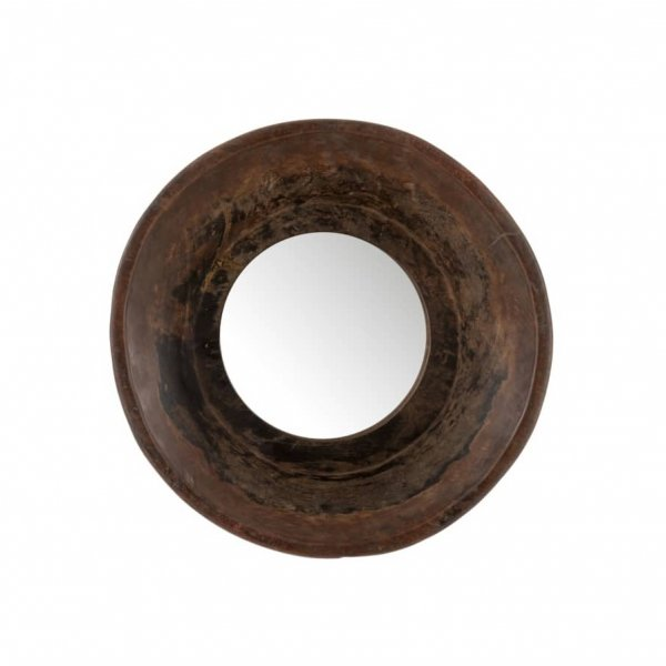 Mirror, round, bowl-shaped, made from recycled Wood, presented in Brown. From From J-Line by JOLIPA