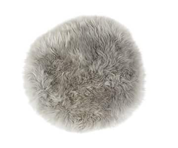 'Moa' - 100% Long-Haired Sheepskin Seat Cushion, Round, in Grey. By Shepherd of Sweden