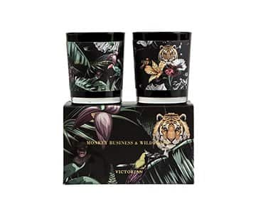 'Monkey Business & Wilderness' Gift Set containing 2 x Scented Candles. By ON Interiör of Sweden.