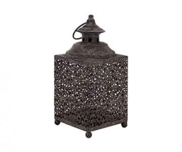 'Moorish' Square Lantern for Candles, made from Metal, with hanging ring. By London Ornaments.