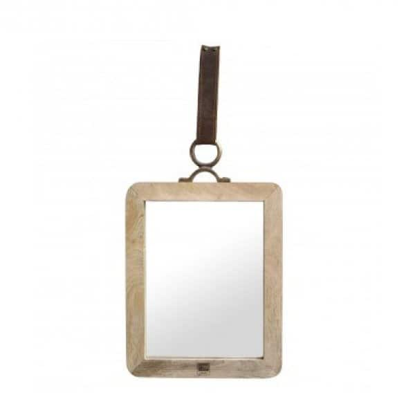 'Morris' natural Mango Wood Mirror with Leather carry / hanging strap. By PTMD Collection®