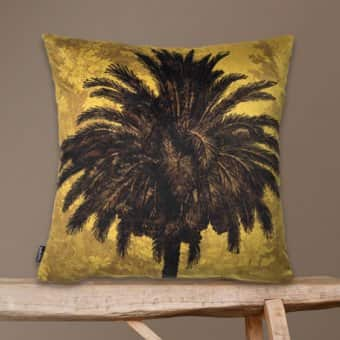 'Mustard Palm' Velvet Cushion (50x50cm)