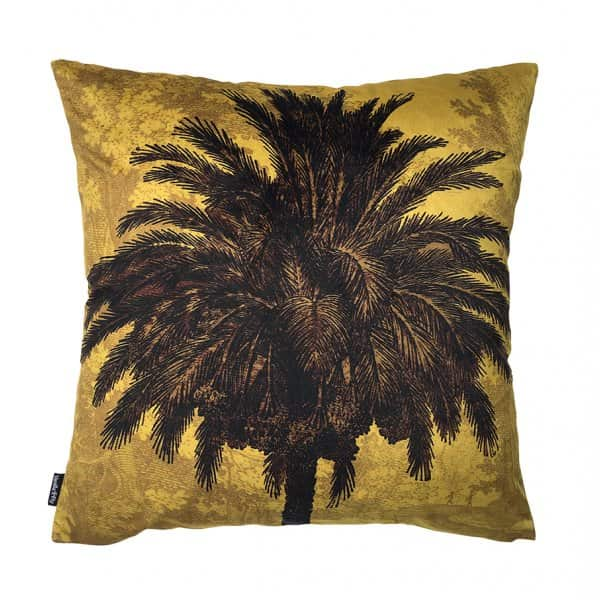 'Mustard Palm' Velvet Cushion, with Duck down filling, by Vanilla Fly of Denmark