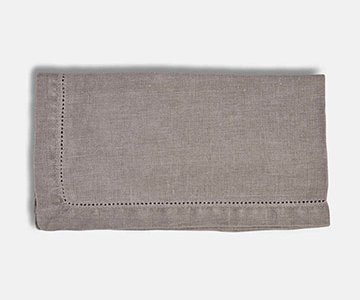Napkins (S/6), made from Linen, hemp-stitched and presented in Grey. From The Vintage Garden Room
