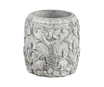 'Nathan' Cement Pot, with pattern, in rustic White. By PTMD Collection®
