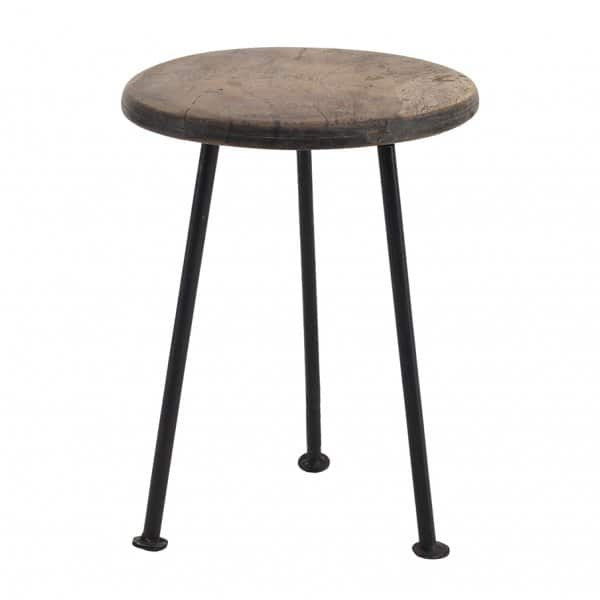 Natural 'Chapati' Wood Plant Table with Iron legs / base. By PTMD Collection®
