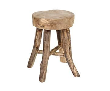 Natural 'Mutu' Teak wooden Stool, Round. By PTMD Collection®