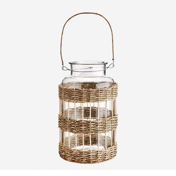 Natural Seagrass Cane Lantern with Clear Glass Candle Holder and carry handle. By Madam Stoltz of Denmark
