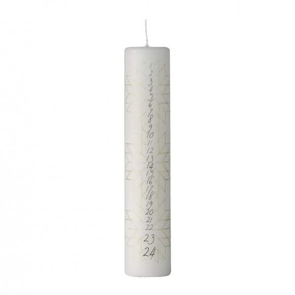Nordic 'Calendar' Pillar Candle in White & Light Gold. By Lene Bjerre of Denmark