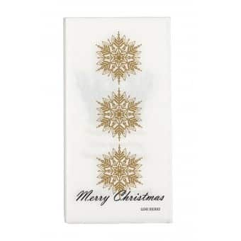 'Nordic' Christmas Napkin with Light Gold Snow Flake image. By Lene Bjerre of Denmark