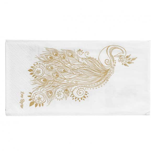 'Nordic' Christmas Napkins (pack of 16), with a beautiful Peacock print, in Gold. By Lene Bjerre of Denmark