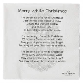 Nordic Napkins with 'White Christmas' lyrics print. By Lene Bjerre of Denmark