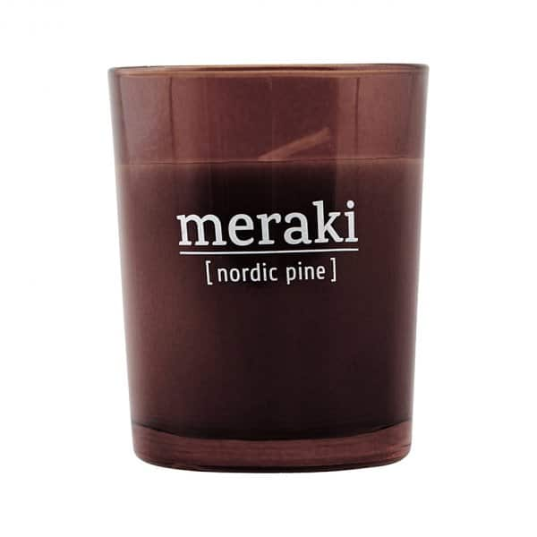 'Nordic Pine' Scented Candle, in coloured Glass, and presented in a branded Tin. By Meraki of Denmark