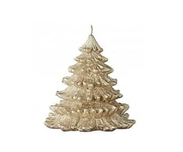 'Nordic' Pine Tree Candle, with beautiful detail, finished in Light Gold. By Lene Bjerre of Denmark