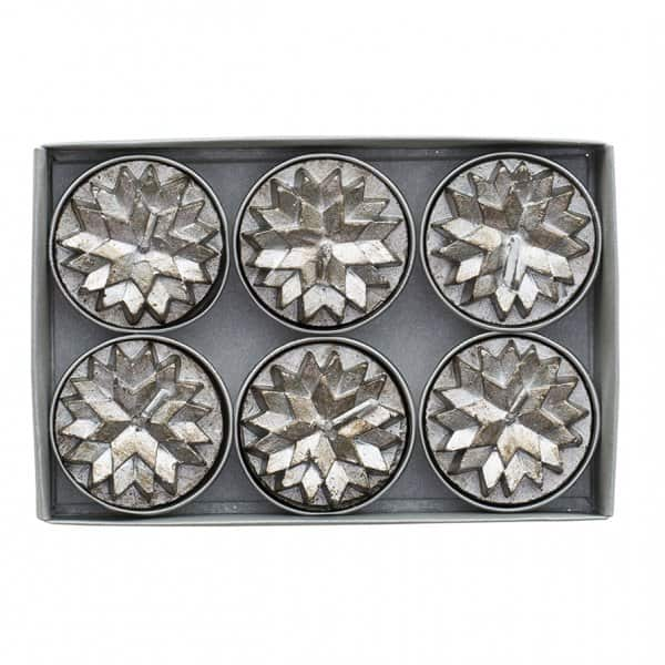 'Nordic' Tea Light Candles (pack of 6) in Antique Silver. By Lene Bjerre of Denmark