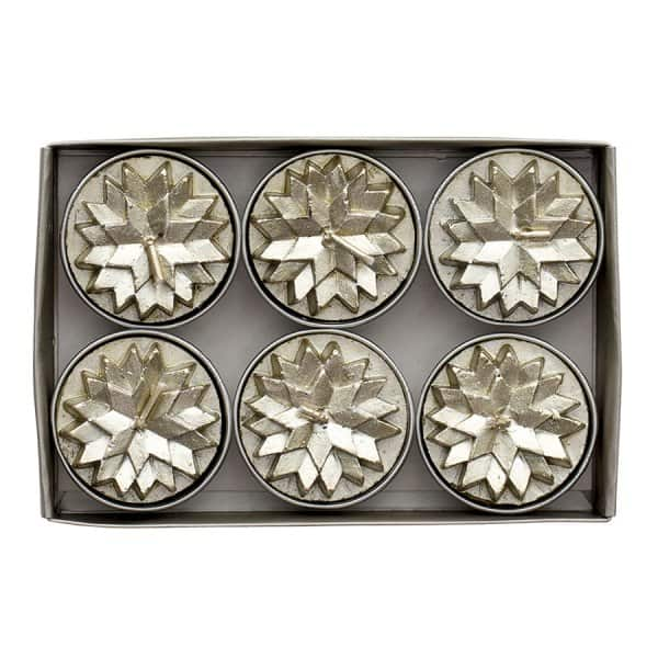 Nordic Tea Light Candles (pack of 6) in Light Gold. By Lene Bjerre of Denmark