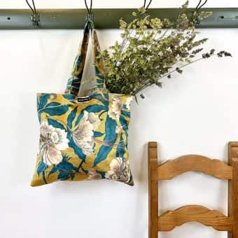 'Ochre Floral' Tote Bag, Velvet, Cotton lining (4 designs in series)
