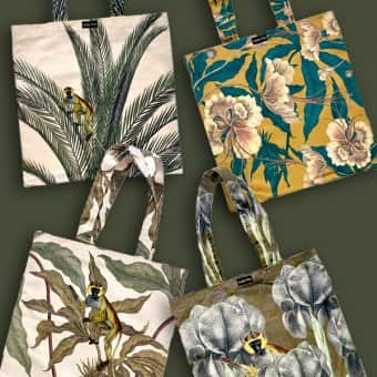TOTE4 Velvet series, featuring 'Ochre Floral', 'Palm Monkey', Foliage Monkey' & 'Antique Ape'.