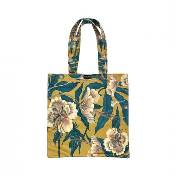 'Ochre Floral' Tote Bag in heavy Velvet, with Cotton lining, by Vanilla Fly of Denmark