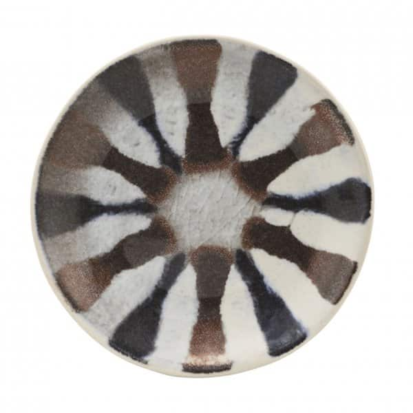 'Organi' multi-coloured Plate, made from Stoneware, presented in retro stripes. By House Doctor of Denmark