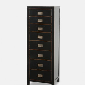 'Tsang' Tallboy, 8 copper handled drawers, antique style, shiny water-lacquered Black (50 x 40 x H:140cm)